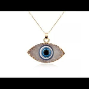 Gold Plated Womens Fashion Charm Evil Eye Necklace